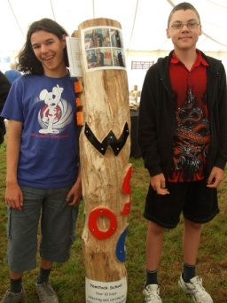 Year 10 students from Yewstock School who crafted a totem pole for the school's sensory garden